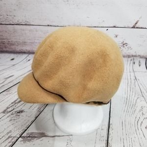 NINE WEST HAT CABBIE NEWSBOY Tan Wool OS